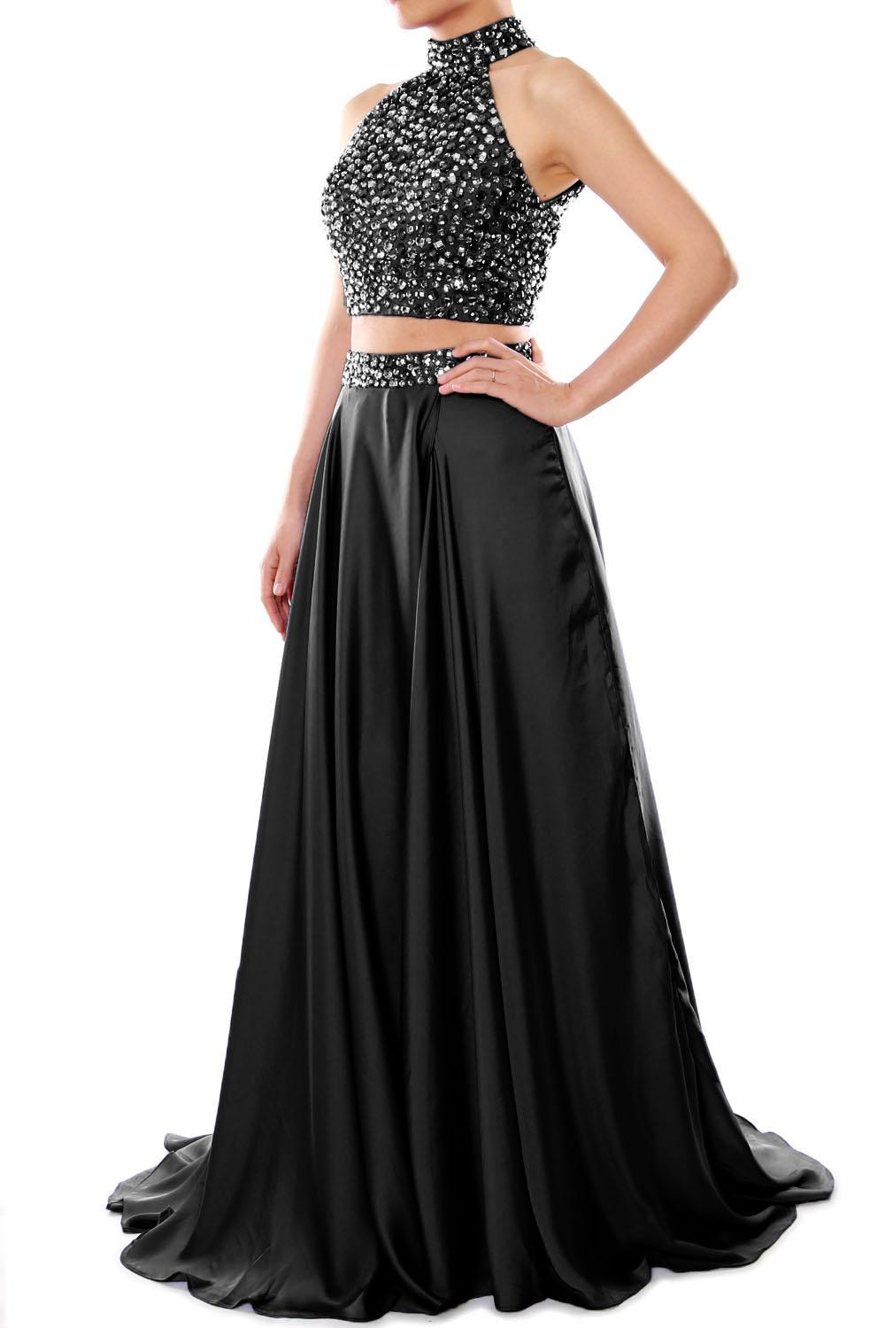 d5694a792a MACloth Women High Neck Two Piece Long Floor Length Maxi Crystal Satin Chiffon  Prom Party Dress Formal Evening Gown 160245 Online with  144.92 Piece on ...