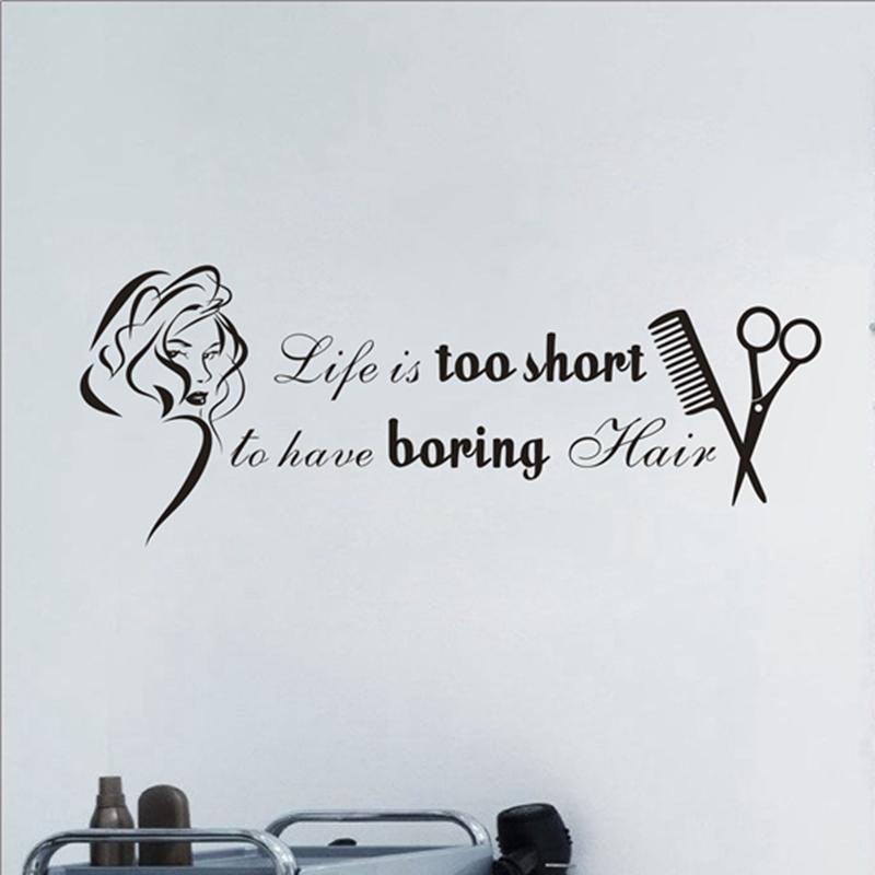 cheap stickers hair salon wall stickers vinyl girls beauty salon