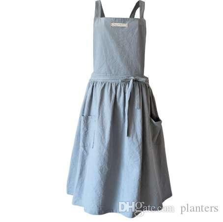 ba86ddb87 Breve viento nórdico Falda plisada delantal de lino de algodón Cafeterías y  floristerías que trabajan para limpiar delantales para mujeres
