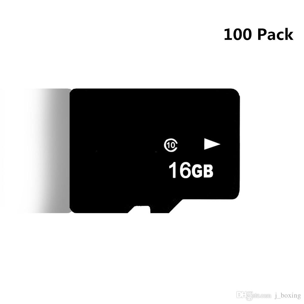 100 Pack C10 16GB TF Flash Memory Card Micro SD Card free SD Adapter for Smartphone Camera Tablet PC GPS Speaker Monitoring equipment Drone