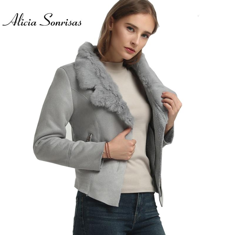 Winter Faux Sheepskin Leather Jacket Women Suede Jacket Lambs Wool Locomotive Real Rabbit Fur Collar Long Sleeve Warm Slim Coat Y190920