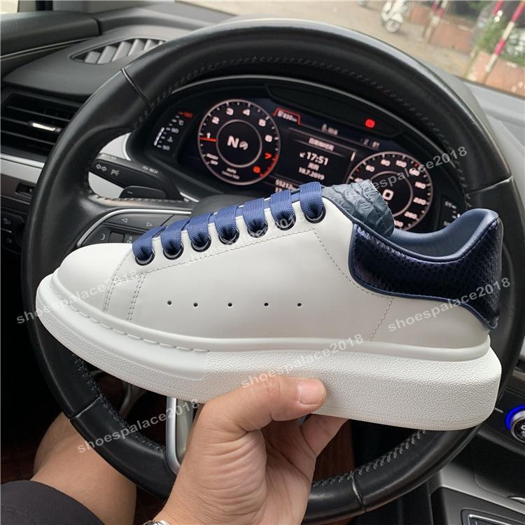 Fashion Designs Classic Casual Shoes Platform Leather Trainer Mens Womens Navy Snake Skin 3M Sneakers Velvet Chaussures Shoe Tennis With Box