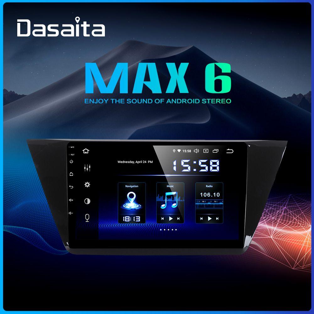 Dasaita 10 2 IPS Screen 1 Din Android 9 0 Car GPS Navigation for VW Touran  Radio 2016 2017 HDMI Bluetooth 64GB ROM MAX6