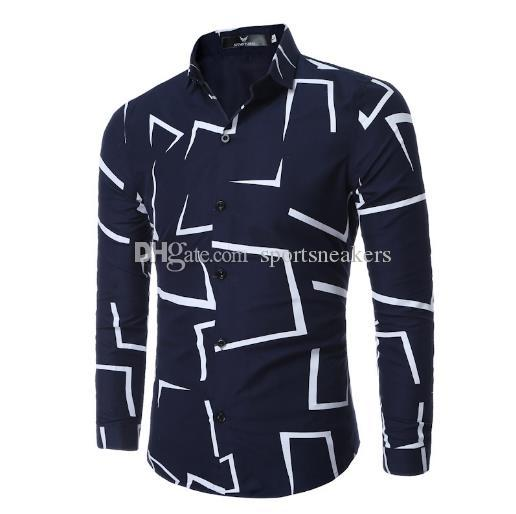 Irregular geometrical design Printed men's Long sleeve casual shirts fashion slim style shirts for man clothing
