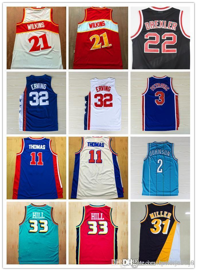 Erkekler 11 Isaiah Thomas 22 Clyde Drexler 32 Dr J Julius Erving 4. Spud Webb # 21 Dominique Wilkins Larry Johnson formaları Nakış Logo