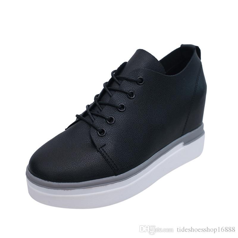 6dcda3d8f33d Acheter Qualité Wedge Sneakers Femme Plate Forme 2019 Printemps Automne  Femmes Casual Chaussures Femme Wedge Hauteur Augmenté Chaussures Sneakers  De  34.37 ...