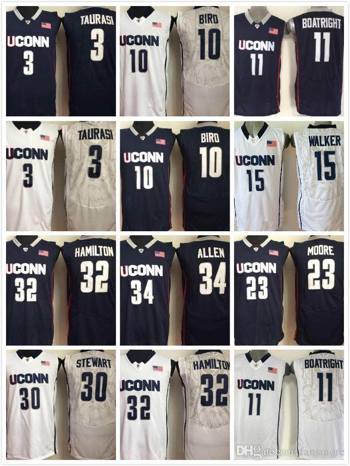 pretty nice ab644 fdeee Men Uconn Huskies Basketball Jersey 15 Kemba Walker 11 Boatright 32  Hamilton 34 Ray Allen 10 Sue Bird 3 Taurasi 30 Stewart
