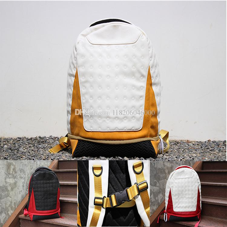 Hot New Backpack leather backpack Jor Mens Womens 13 Designer bag Teenager Black red yellow White Blue Outdoor Basketball Backpack 4Colour