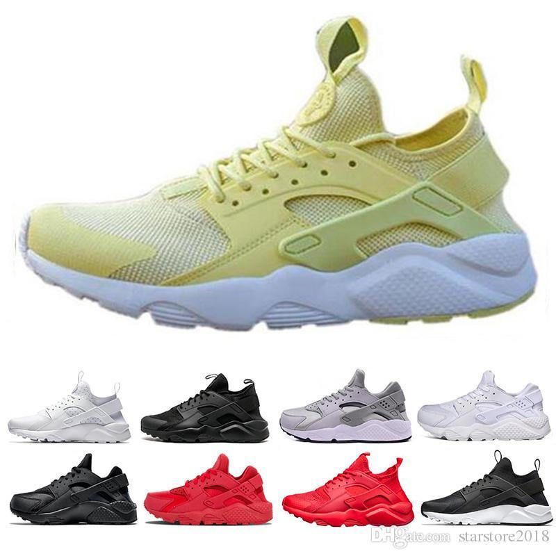 b5eaac1e3fbf 2019 Top fashion Huarache Ultra Run Shoes Triple White Black Red Men Women Running  Shoes Yellow Grey Huaraches Sport Shoe Mens Womens Sneakers From ...