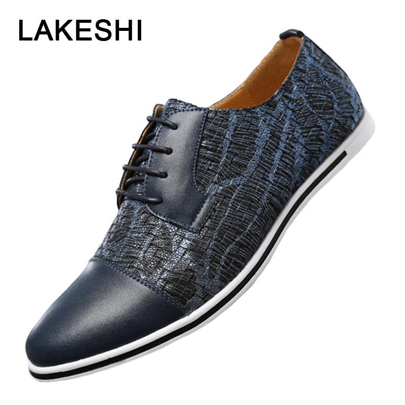9e6b19f3fa Compre Homem Da Moda Sapatos Casuais Homens De Verão Mocassins Oxford Lace  Up Sapatos De Couro Homens Marca De Luxo Plus Size 38 47 39 S De  Classycolor