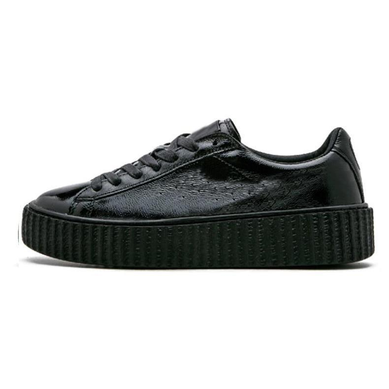 Fenty Creeper Rihanna Basket Platform Casual Shoes Velvet Cracked Leather Suede Mens Black White Red Green mens Casual Sneakers 36-44 A5