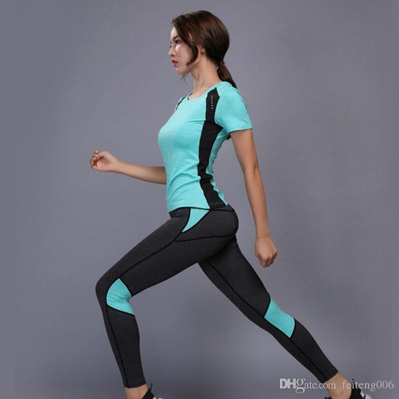 77979334a6f0b Fitness Suit Women Yoga Set Plus Size Sports Clothes Tennis Shirt Pants  Running Tight Jogging Suits For Women Workout Sport Suit #645566