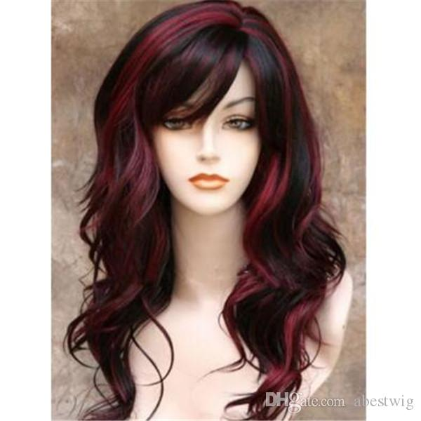 Beautiful Fashion Women Long Black Red Mixed Wavy Curly Hair Synthetic Kanekalon Heat Resistant Cosplay Party Hair Full Wig Wigs