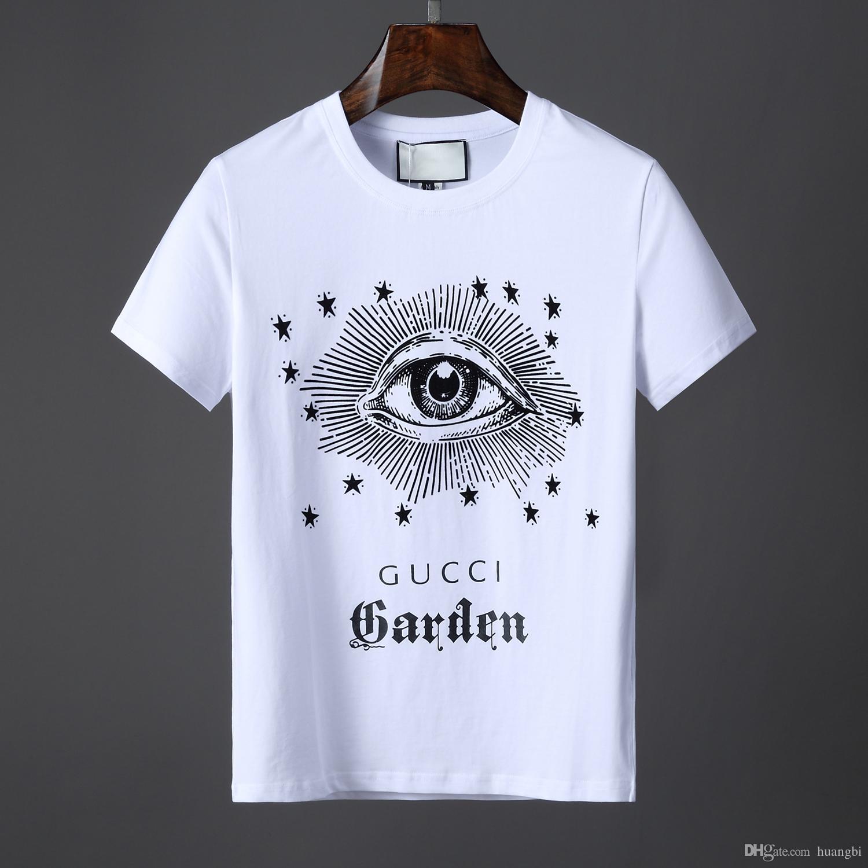 9f2297a22f Spring/summer 2019 fashion Italian luxury brand T-shirt designer  embroidered medusa Print flower men's casual round neck T-shirt