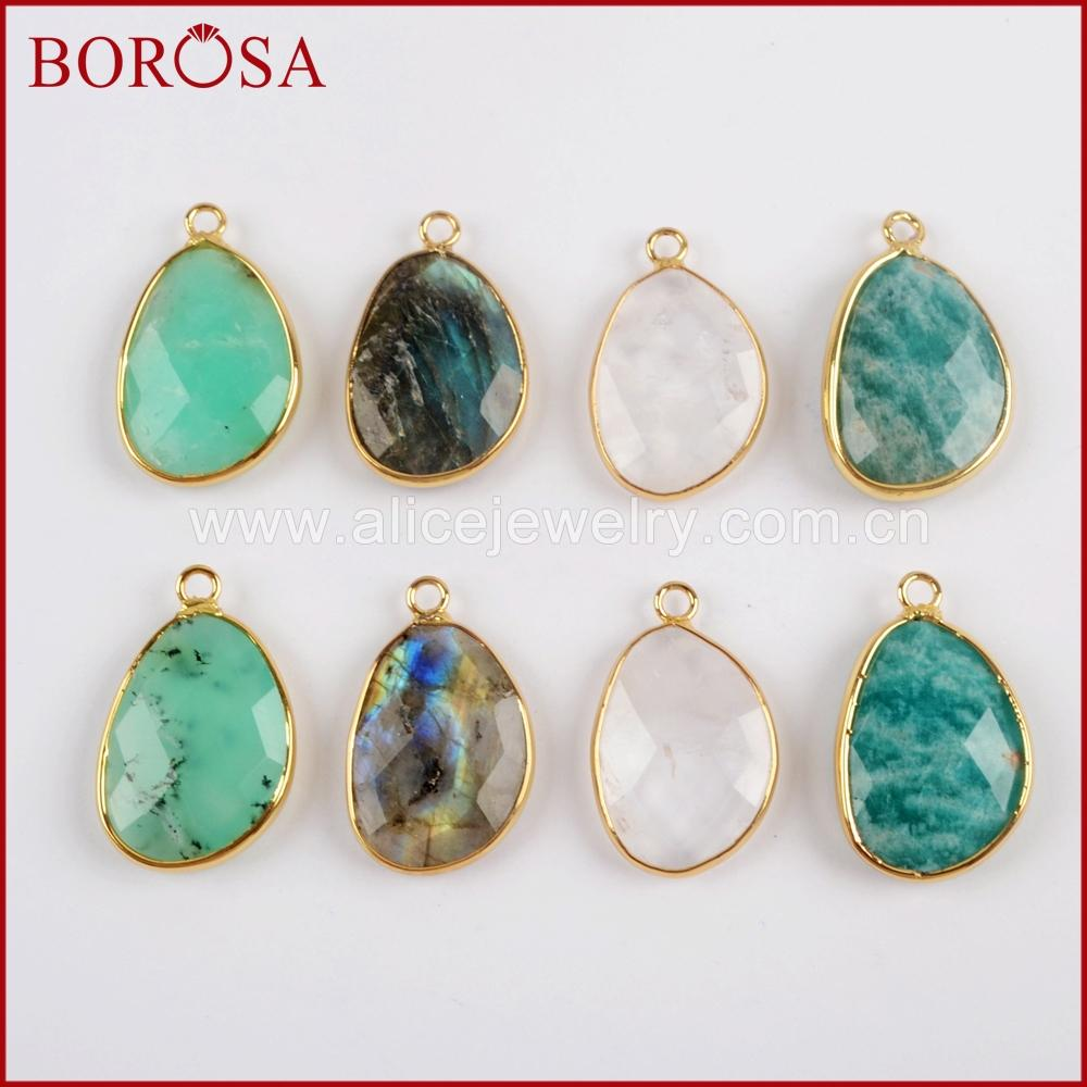 wholesale 5pcs Mango Shape Gold color Multi-kind stone Faceted Charm Druzy pendant for Jewelry Making DIY 2018 NEW G1558