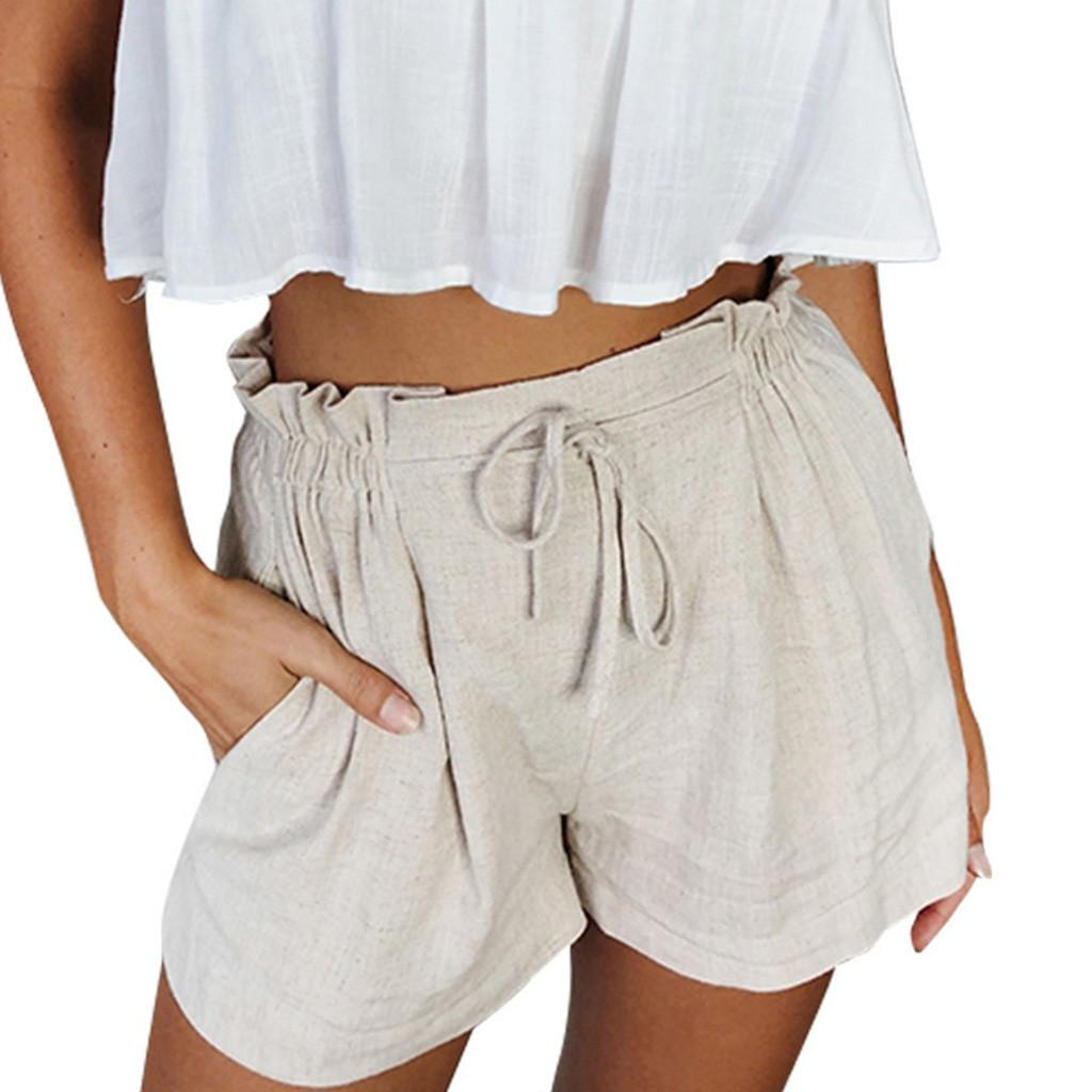 8af3827c328d Mujeres feitong pantalones cortos de verano pantalones casuales pantalones  de las señoras pantalones cortos withe bolsillo de cintura alta pantalones  ...