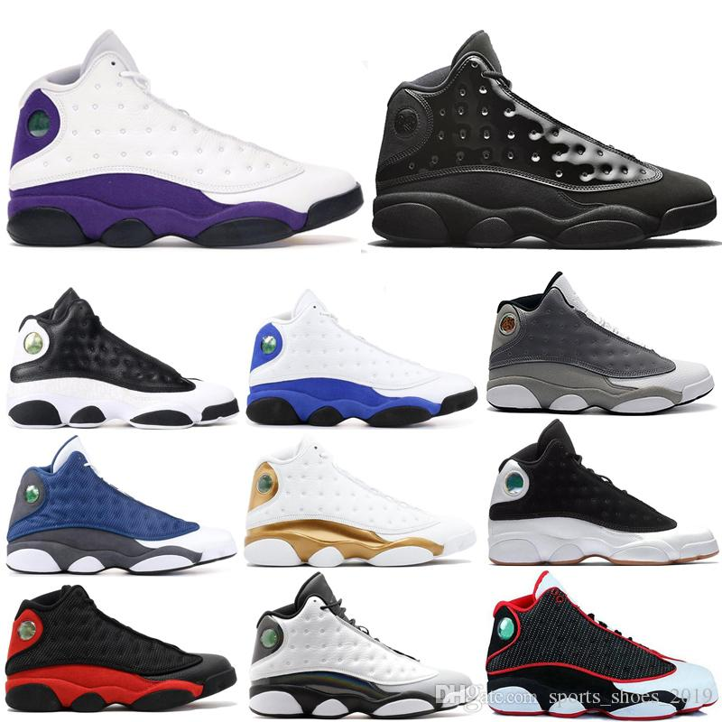 best website 48798 1b50b airjordanretro 13s mens basketball shoes COURT PURPLE Cap and gown  Atmosphere Grey HYPER ROYAL BLACK CAT 13 men sports sneakers