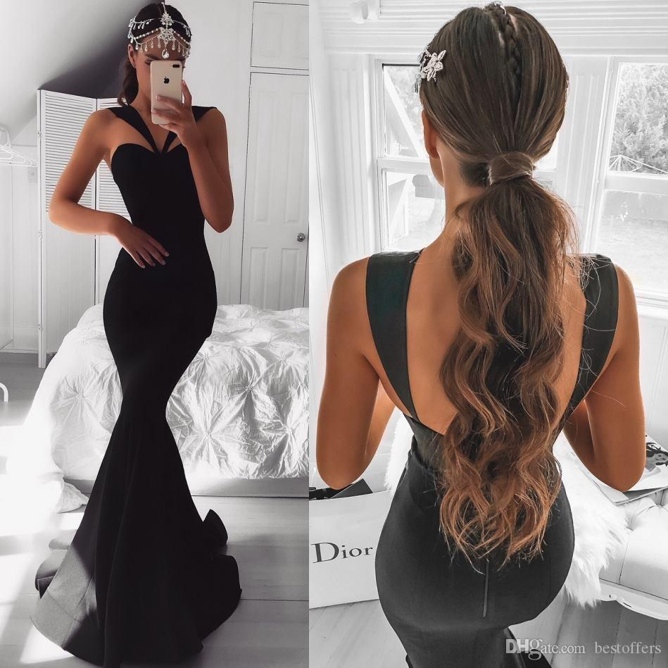 2019 African Black Girl Prom Dresses Sleeveless Mermaid Formal Evening Dresses Backless Celebrity Pageant Gowns