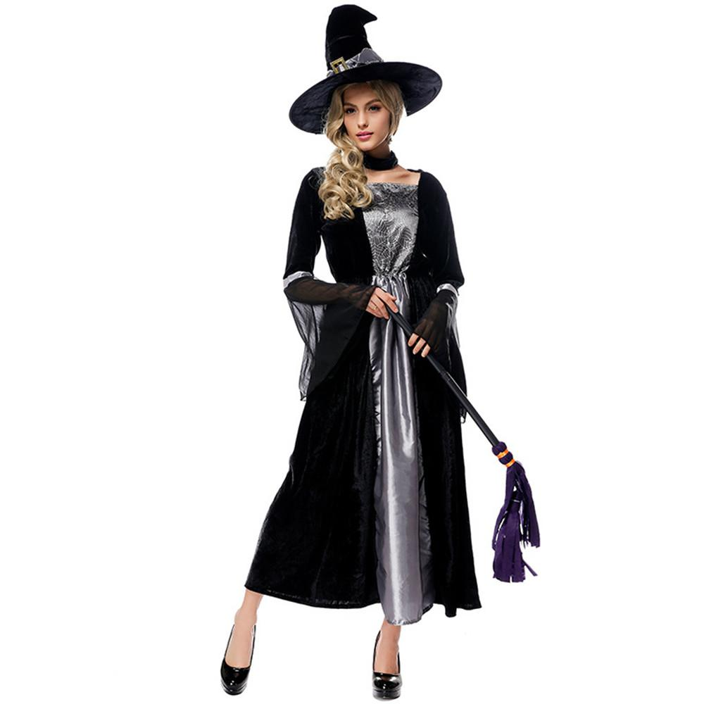 f3579c98c619 Cosplay Halloween carnival purim costume Black Grey Spider Web Print Witch  Devil magic wizard Dress Fancy Dress Party for women