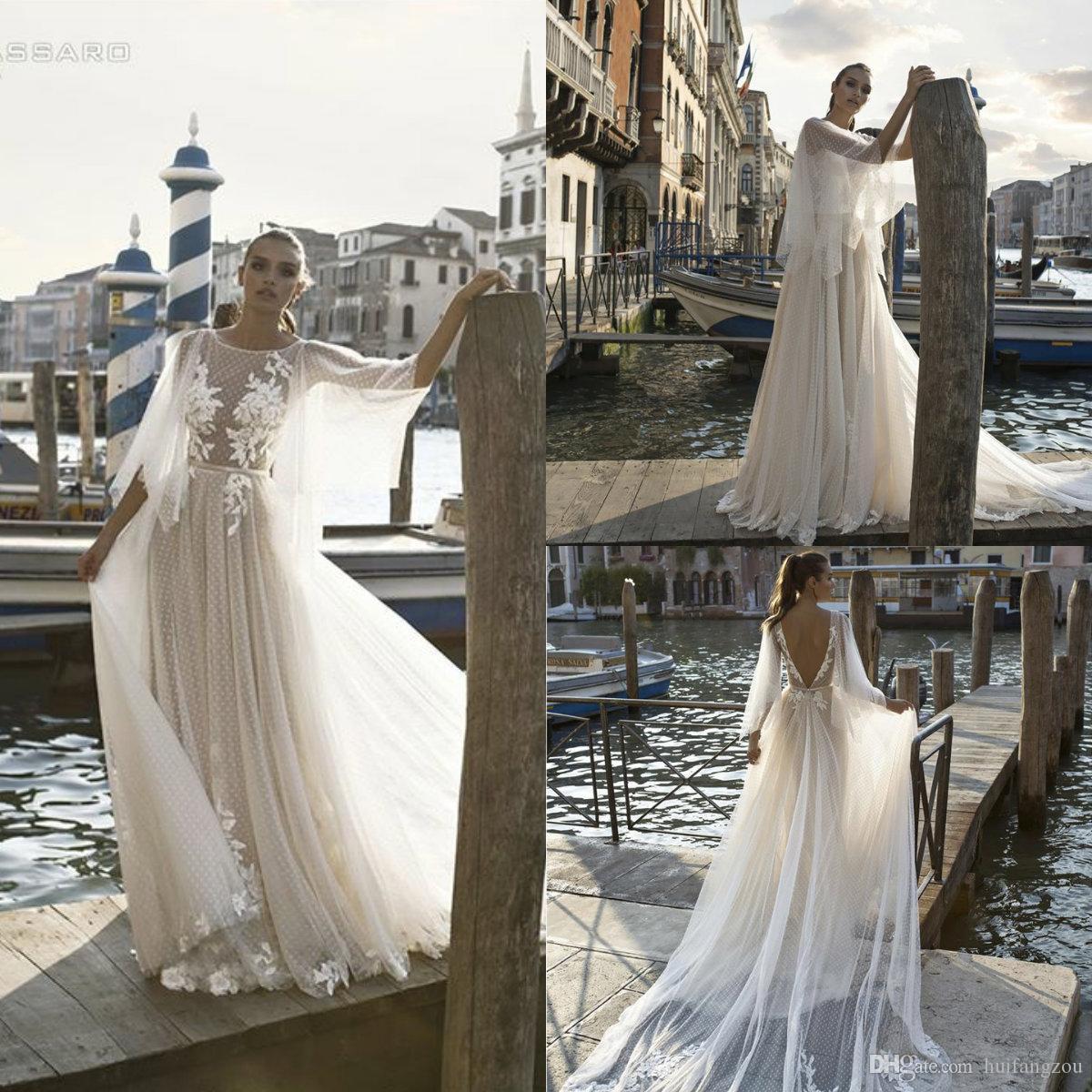 d872376ca2d Pinella Passaro Vintage Wedding Dresses 2019 Illusion Lace Applique Half  Sleeves Bridal Gowns Backless Beach Wedding Dress Custom Made Wedding  Dresses ...