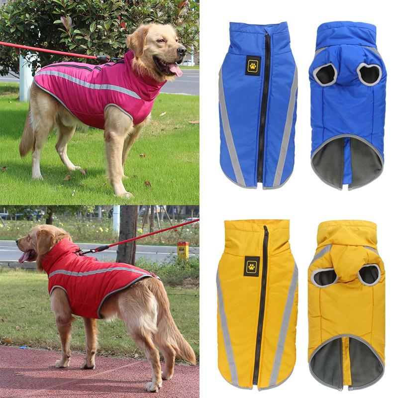 Waterproof Dog Clothes For Large Dogs Winter Warm Big Dog Jackets Padded  Fleece Pet Coat Safety Reflective Design Dog Clothing Wholesale