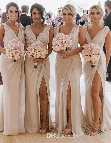 c97f80dbd591 Real Picture Vestido Madrinha Slit Mermaid Bridesmaid Dresses Long Sexy  Backless Wedding Party Dress 2019 V Neck Bride Maid Of Honor Gowns Classic  ...
