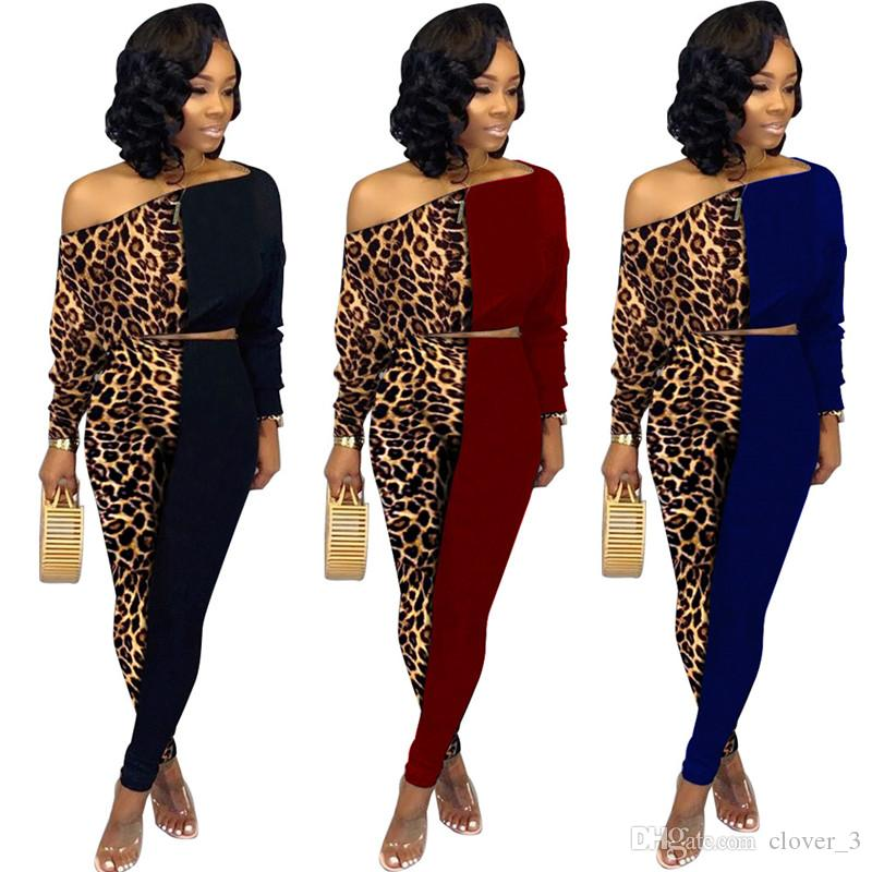 Womens sportswear long sleeve hoodie outfits 2 piece set tracksuit jogging sport suit sweatshirt tights pant suit leopard panelled klw2616