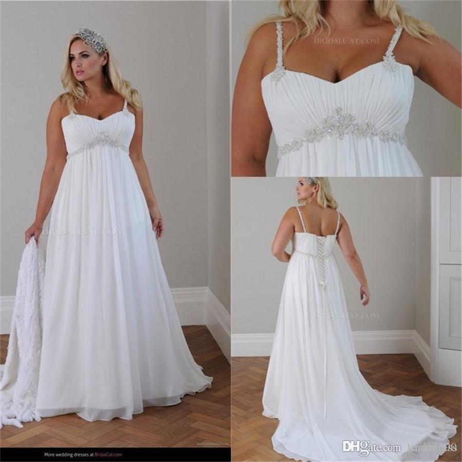 Spaghetti Straps Beaded Chiffon Beach Wedding Dresses Floor Length Empire  Waist Elegant Bridal Gowns Plus Size Casual Wedding Dress