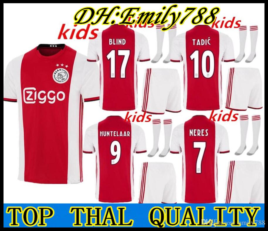 0dd651cb282 2019 2019 2020 Ajax FC Soccer Jerseys Home Kids Kits 19/20 Customized #7  NERES # 10 TADIC #4 DE LIGT #22 ZIYECH Football Shirt From Emily788, ...