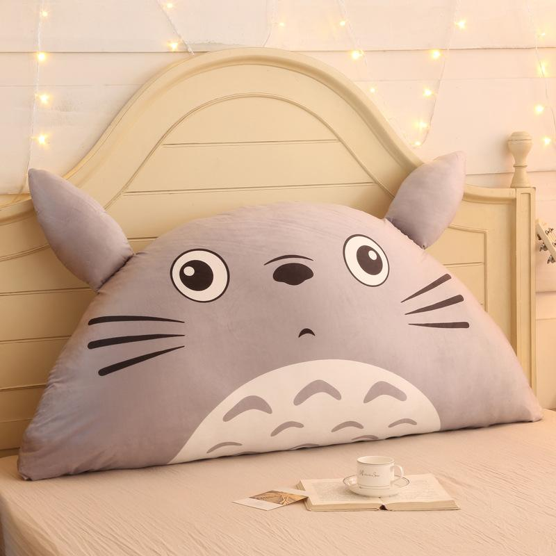 Cartoon Totoro Cotton Linen Backrest Cushion For Sofa Cushions For Bed Rest Pillow Back Support Large Size Cushion