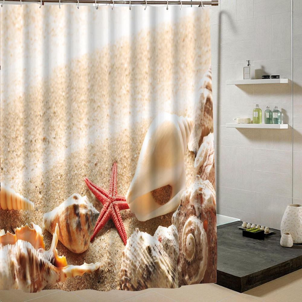 2018 Summer Beach Shower Curtain Beige Fabric Polyester 3d Bathroom Decoration Waterproof Mildew Proof Liner For Bath C18112201 From Mingjing03