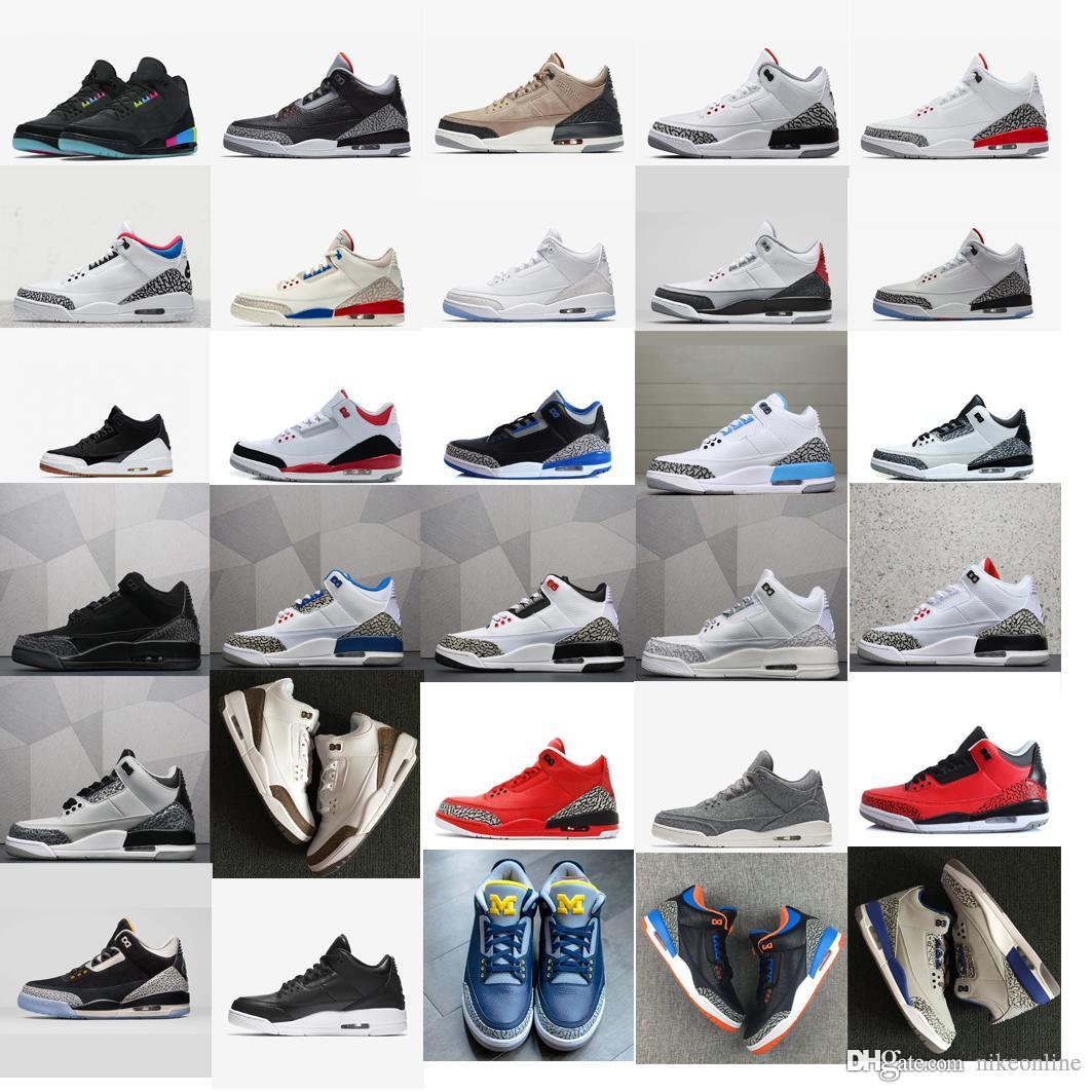 38552328c76f 2019 Cheap Mens Jumpman 3 Basketball Shoes 3s Michigan UNC Blue Georgetown  OG Black Cement White Aj3 Tinker NRG J3 Retro Sneakers Boots With Box From  ...