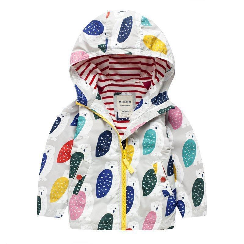 85563c2be328 Baby Girl Hooded Jacket In Spring Kids Owl Flower Coats Waterproof ...
