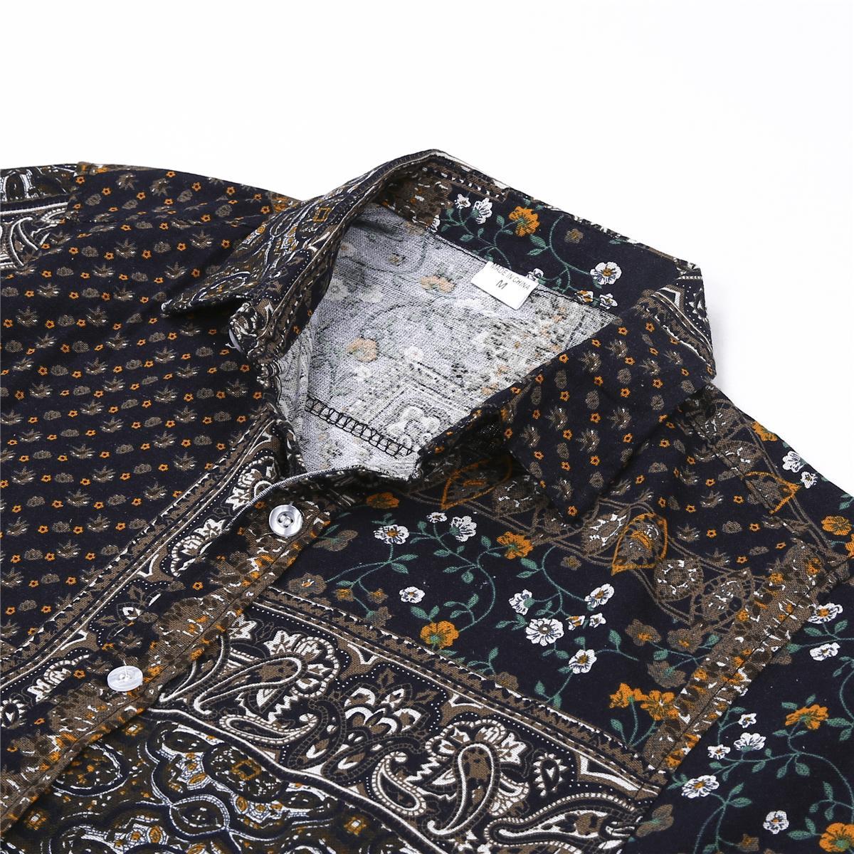 Moda Mens Linho Praia Havaí Camisetas Tropical Summer manga curta Vestuário Botão solto Casual para baixo camiseta Plus Size M-5XL