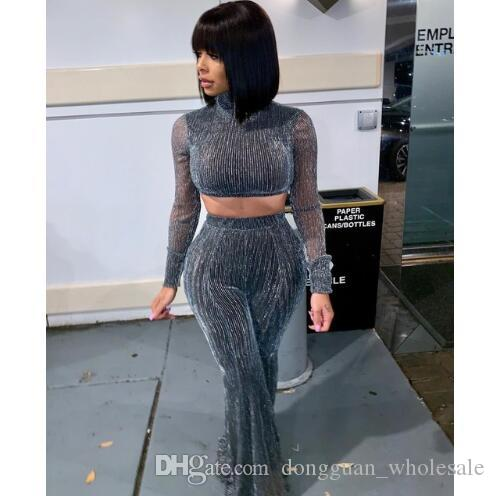 5bbebcf8ff3 2019 Solid Sexy High Street Set Autumn Turtleneck Full Sleeve Crop Top And  Empire Flare Pants Women Party Shiny Outfit From Dongguan wholesale