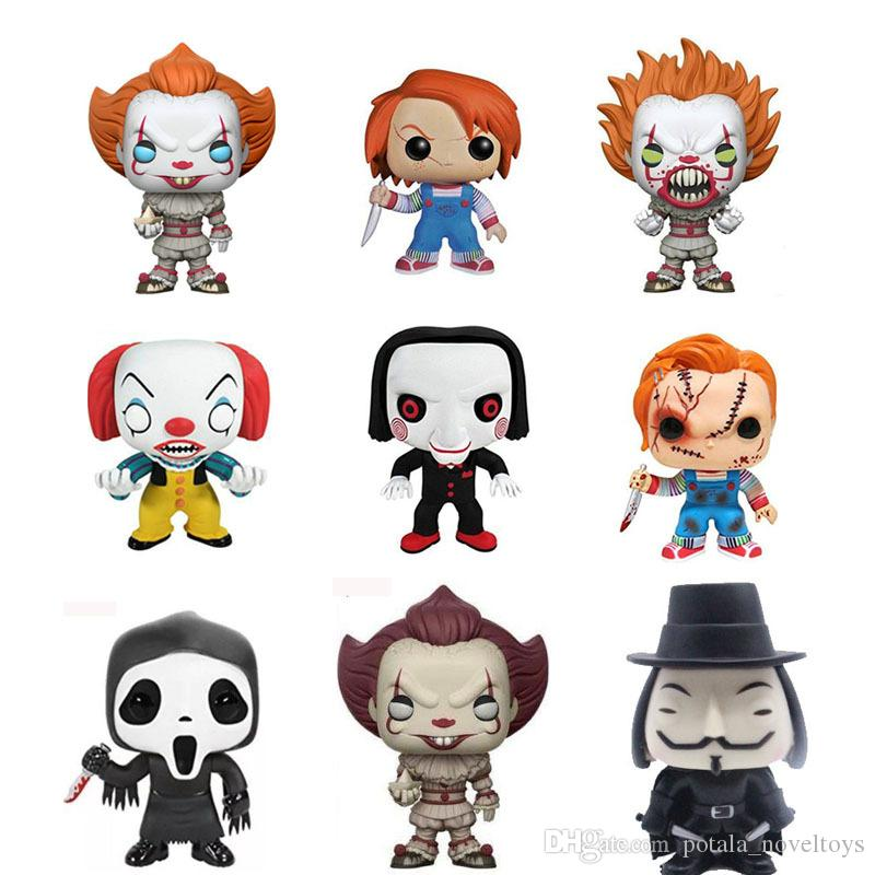 1PC Stephen King's It Joker Clown Funko Pop 10CM PVC Action Figure Collectible Model Toy Doll Figures Halloween Day Christmas Gift for Child