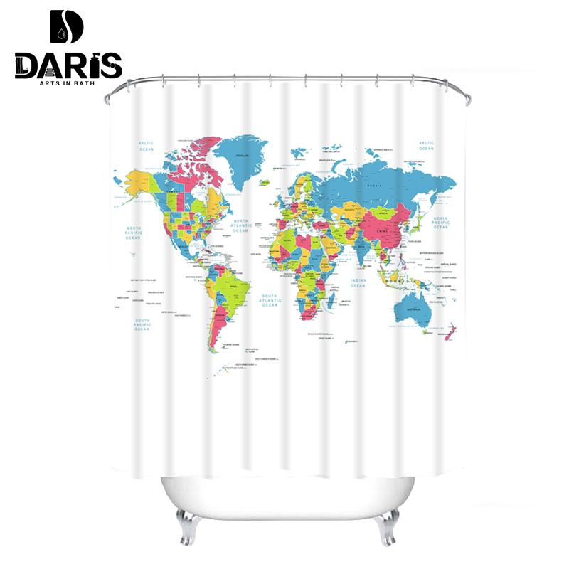 2019 SDARISB 180x180cm World Map Bath Curtain Waterproof Photo Design Fabric Shower Polyester Printing Curtains Bathroom C18112201 From Mingjing03