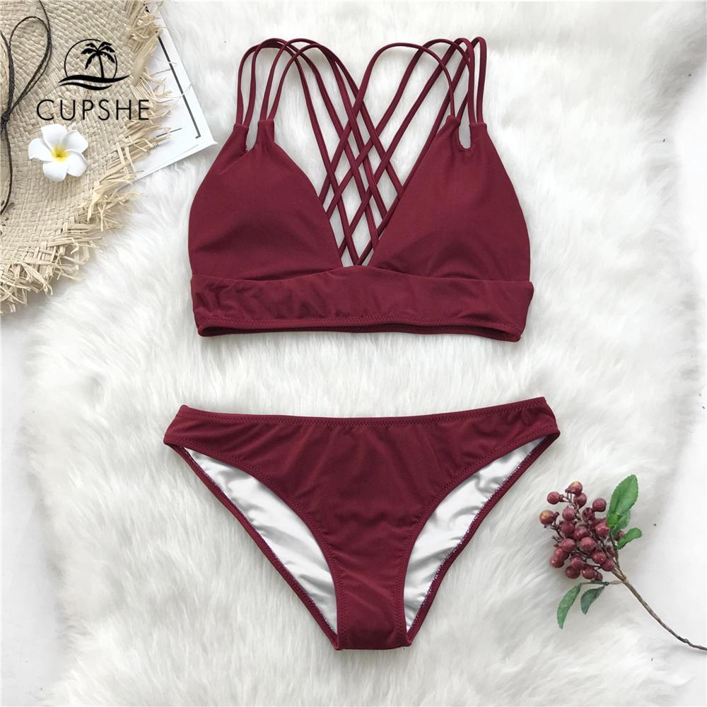 e6ab7832c6 Acquista Costumi Da Bagno In Cotone Bordeaux Con Cinghie In Cotone Donna A  $25.46 Dal Xinpiao | DHgate.Com
