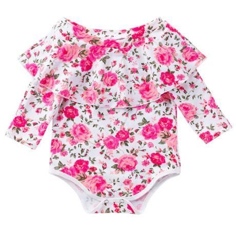 b1eeda8d2139 2019 Spring Fall Rose Flower Baby Rompers Off the Shoulder Jumpsuits ...