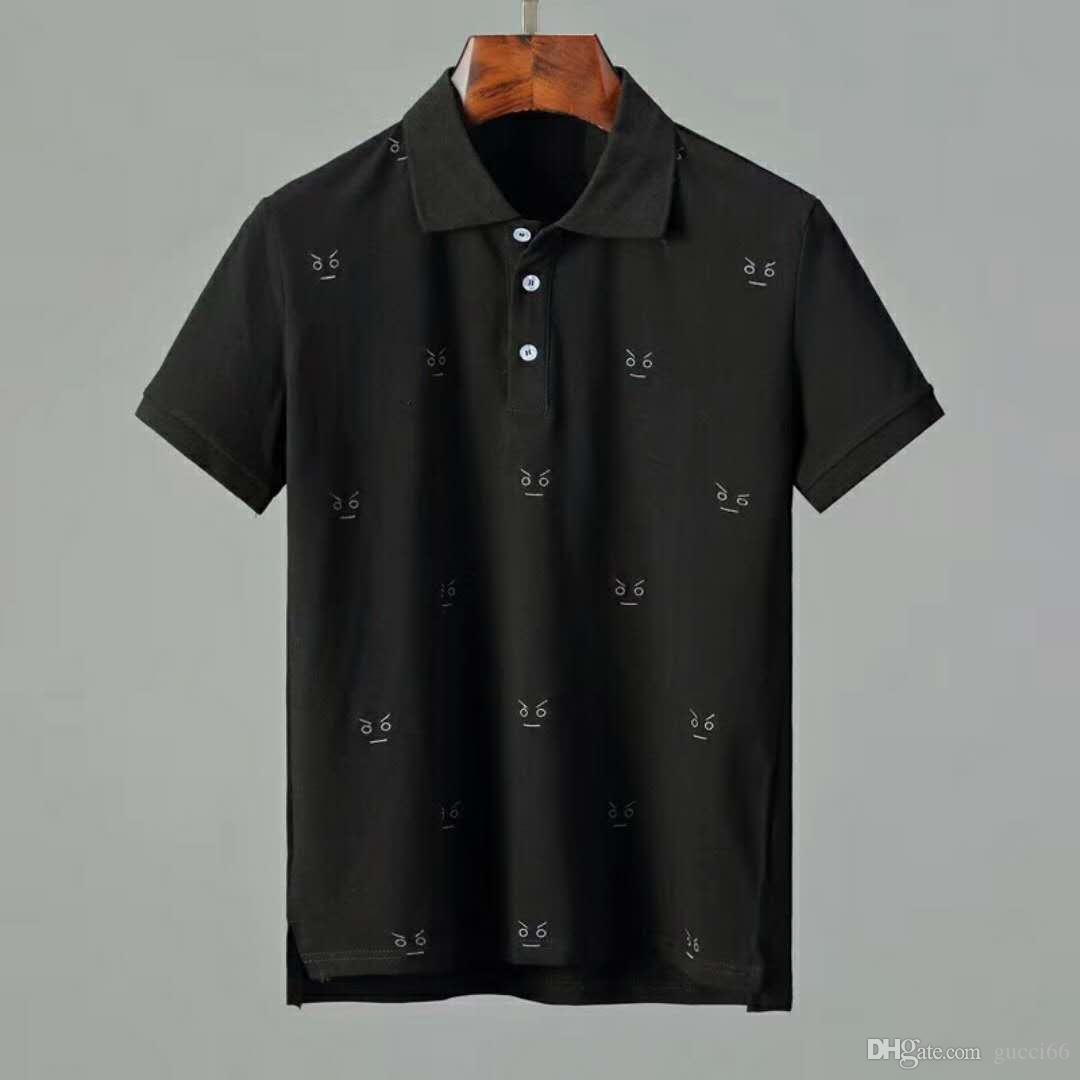 2019 New Black White Men Polo T Shirts Letter Cute Eyes Embroidery