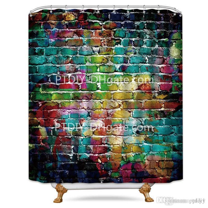 Riyidecor Colorful Brick Wall Shower Curtain Painting Watercolor Teal Hip  Hop Decor Fabric Bathroom Set