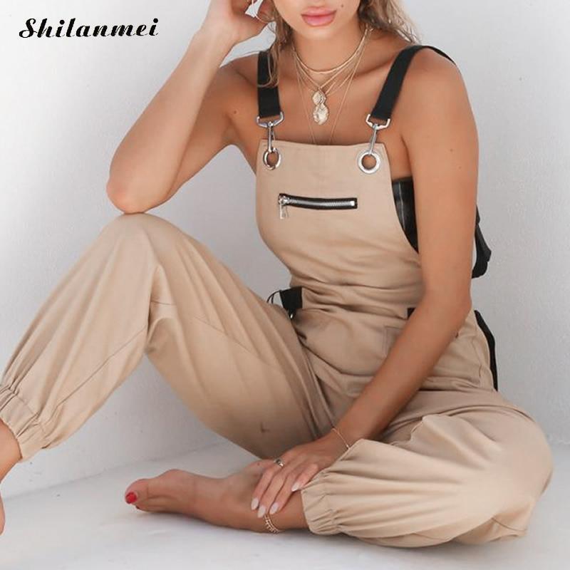 1c20edd028836e Großhandel Khaki Strampler Womens Jumpsuit Lange Elegante Reißverschluss  Taschen Sleevlesee Justierter Gurt Hohe Taille Baumwolle Mode Sommer 2019  Von ...
