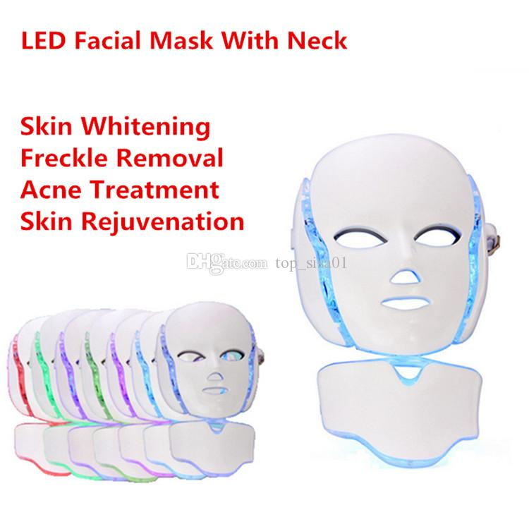 MOQ 1PCS 7 Colors LED Photon Light Therapy Beauty PDT Skin Rejuvenation Machine LED Face Neck Mask With Microcurrent For Skin Whitening