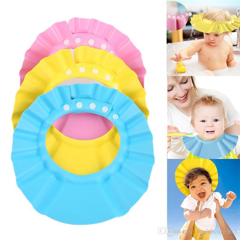 18ca14fd4 Safe Baby Shower Cap Kids Bath Visor Hat Adjustable Baby Shower Cap Protect  Eyes Hair Wash Shield for Children Waterproof Cap