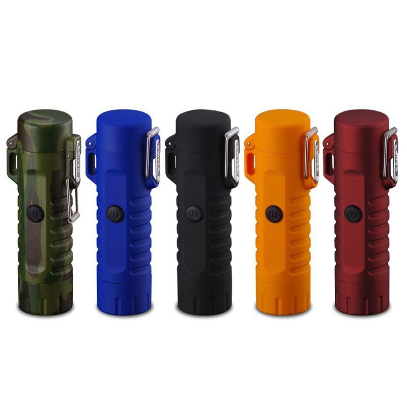 Outdoor camping LED flashlight Windproof cigarette Lighter double arc seal waterproof USB charging lighter
