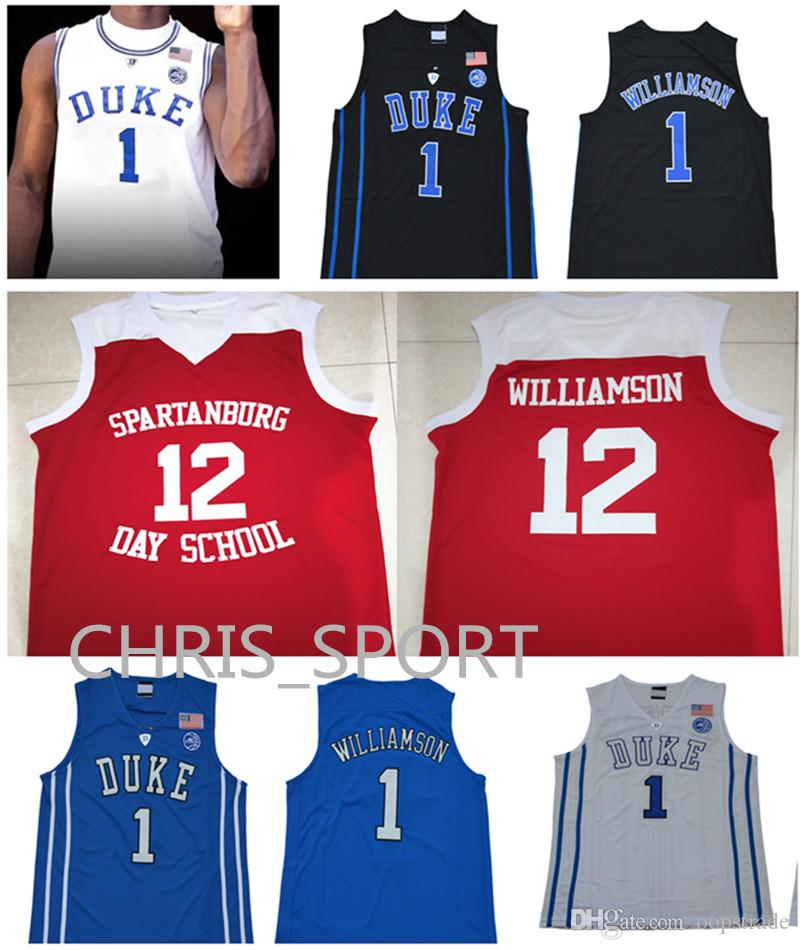 6e0d5a008f20 2019 Zion Williamson Basketball Jerseys Duke College  12 Spartanburg Day School  Jerseys Embroidered  1 Custom White Blue Basketball Uniform From Oopstrade