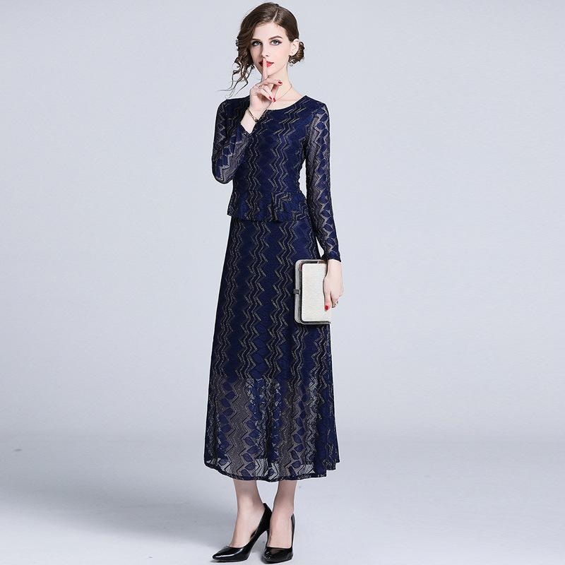 4f3cd9b9134 2019 Two Piece Lace Long Dress for Women Pencil Dresses Long Sleeve ...