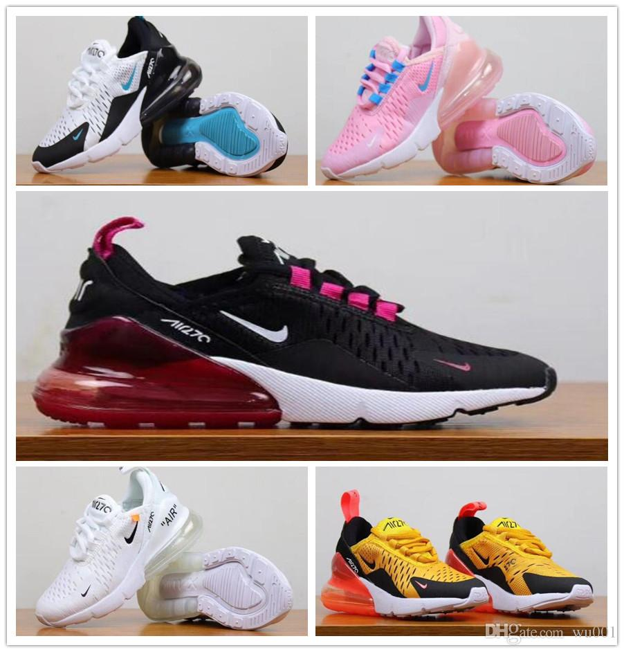 Nike Air Max 270 youth Running Shoes kid Sneakers Off white air 27c run outdoor Sports shoe 270s Trainer Air sneakers 28 35
