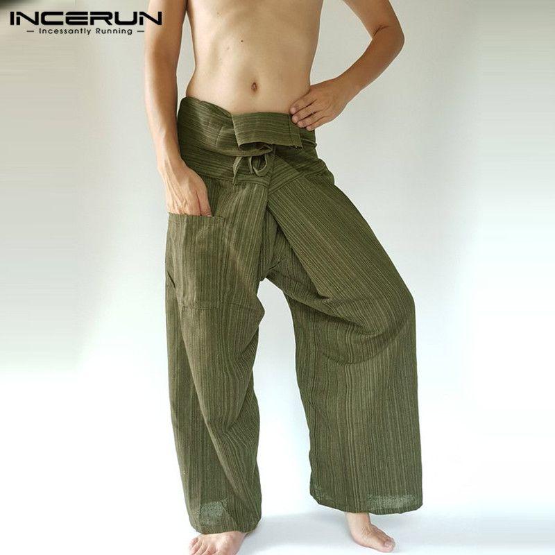 d33f9049bd 2019 2019 Striped Thai Fisherman Pants Men Loose Pockets Joggers Cotton  Casual Yoga Pants Workout Wide Leg Trousers Men S 5XL INCERUN From  Florence33, ...