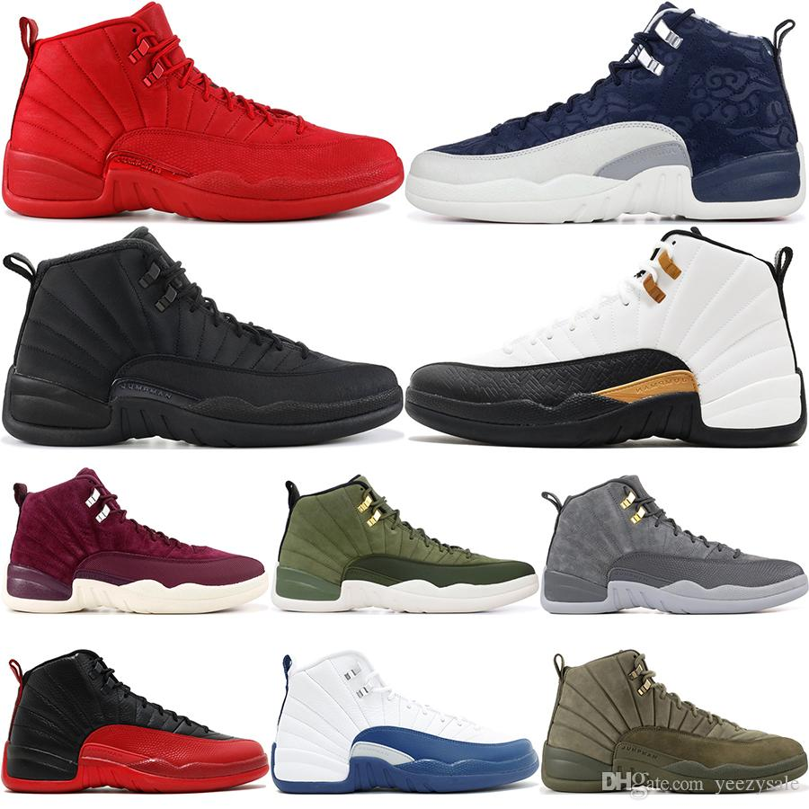 8c5edf0eb747b0 2019 Winterize Black 12 Gym Red 12S College Navy Men Basketball Shoes  Michigan Bulls Flu Game The Master Taxi Sports Trainer Sneakers 7 13 From  Yeezysale